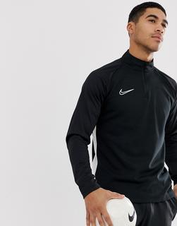Nike Football - Nike – Football Academy Drill – Schwarzes Sweatshirt mit halblangem Reißverschluss