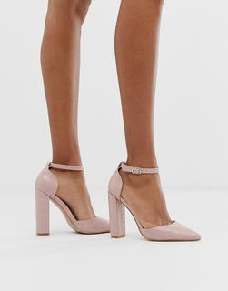Public Desire - Sofia blush croc block heeled shoes
