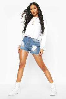 boohoo - Mom-Shorts aus Denim in Used-Optik mit hohem Bund