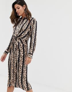 Liquorish - Hemdkleid mit verdrehter Vorderseite und Leopardenstreifen-Mehrfarbig