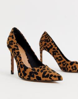 ASOS DESIGN - Porto pointed high heeled court shoes in leopard