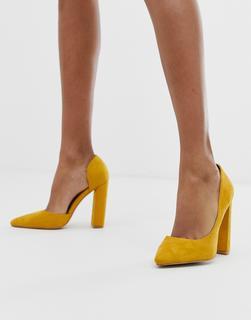 Public Desire - Prinny yellow suede block heeled shoes