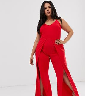 Simply Be - split leg jumpsuit in red