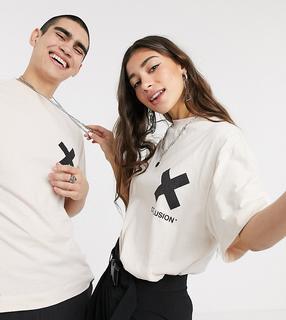 Collusion - Unisex – T-Shirt mit Logo in gebrochenem Weiß