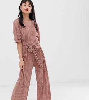 ASOS Petite - ASOS DESIGN Petite plisse tie front culotte jumpsuit