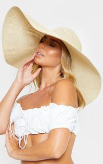 PrettyLittleThing - Cream Extra Large Oversized Sun Hat, White