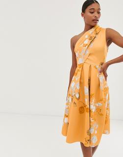 ASOS DESIGN - floral off shoulder prom midi dress