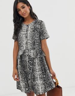 Vero Moda - snake print button through smock dress