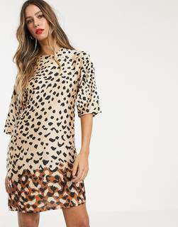 MANGO - leopard print shift dress