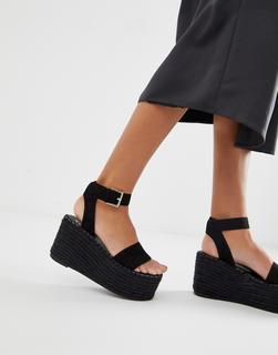 SIMMI Shoes - Simmi London - Melanie - Schwarze Espadrille-Sandalen mit Plateausohle - Schwarz
