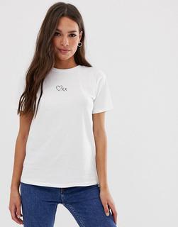 ASOS DESIGN - T-Shirt mit Herz- und Kuss-Motiv-Weiß