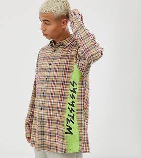 Collusion - Kariertes Oversize-Hemd mit abfallenden Schultern und Graffitimotiv-Braun