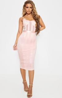 PrettyLittleThing - Petite Pink Lace Lined Midi Dress, Pink
