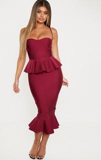 PrettyLittleThing - Berry Strappy Peplum Frill Hem Bandage Midi Dress, Pink