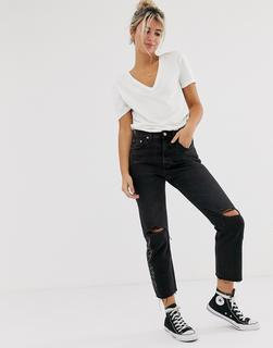 Levis - 501 crop jeans with knee rip