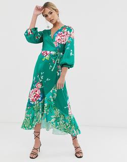Liquorish - Midi-Freizeitkleid mit Wickeldesign und grünem Blumenmuster-Mehrfarbig