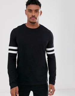 ASOS DESIGN - Langärmliges Shirt aus Bio-Baumwolle mit Stretch und Kontraststreifen an den Ärmeln, Schwarz