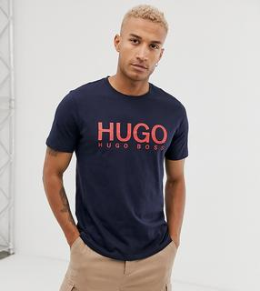HUGO - Dolive – T-Shirt in Marineblau mit Logo-Navy
