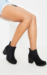 PrettyLittleThing - Black Faux Suede Cleated Chelsea Ankle Boots, Black