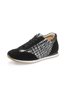 hessnatur - Damen Damen Sneaker aus Leder und Schurwolle – schwarz – Größe 36