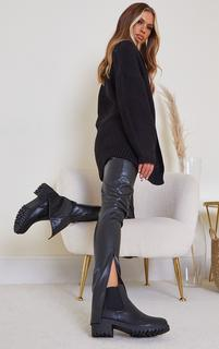 PrettyLittleThing - Black Low Heel Cleated Chelsea Ankle Boots, Black