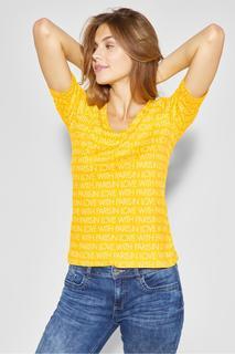 STREET ONE - T-Shirt mit Wording Palmira - creamy lemon