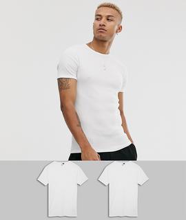 G-Star - Organic – Schmal geschnittene weiße T-Shirts aus Baumwolle im 2er-Pack, mit tonigen Logos