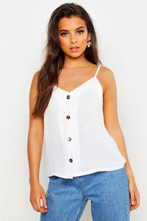boohoo - Womens Button Front Woven Cami - White - 12, White