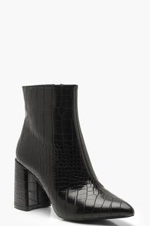 boohoo - Womens Croc Block Heel Shoe Boots - Black - 4, Black