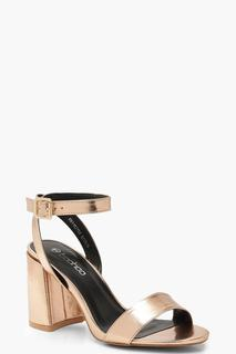 boohoo - Womens 2Teilige Pumps Mit Gdressing Gownn Block Heels - Rotgold - 36, Rotgold