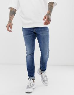 G-Star - Enge geschnittene Jeans in mittlerer Aged-Waschung-Blau