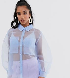 ASOS Petite - ASOS DESIGN Petite – Langärmliges Hemd aus Organza-Keine Farbe