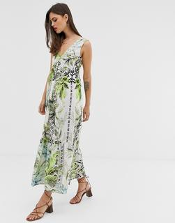 ASOS DESIGN - maxi dress with pephem in tropical print
