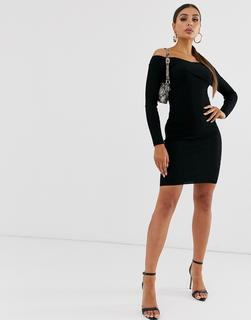 4th + Reckless - 4th & Reckless knitted midi dress with wrap detail in black