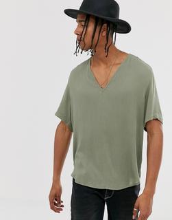 ASOS DESIGN - Strukturiertes Hemd mit regulärer Passform, in hellem Khaki-Grün