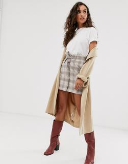 MANGO - check tie waist skirt