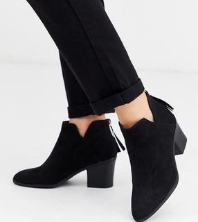New Look Wide Fit - Schwarze Stiefeletten mit Absatz, weite Passform