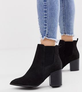 New Look Wide Fit - Chelsea-Stiefel aus schwarzem Wildlederimitat mit Absatz