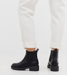 New Look Wide Fit - Flache Chunky Chelsea-Boots in Schwarz, weite Passform