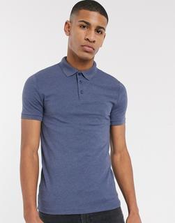 ASOS DESIGN - Muskel-Polohemd aus Jersey in Blau meliert