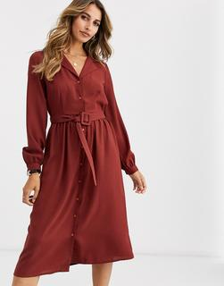 Vero Moda - midi shirt dress with fabric covered belt in brown