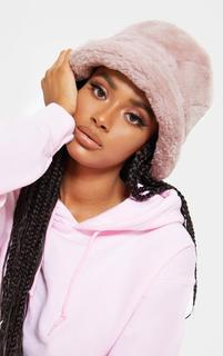 PrettyLittleThing - Pink Faux Fur Bucket Hat, Pink