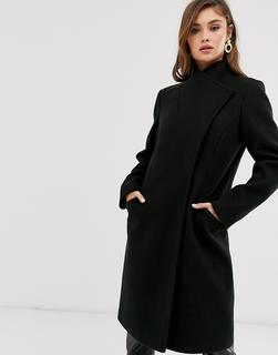 ASOS DESIGN - Eleganter Mantel in Schwarz mit Wickelfront