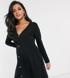 ASOS Maternity - ASOS DESIGN – Umstandsmode – Schwarzes Kleid mit gesmokter Seite und Knopfleiste