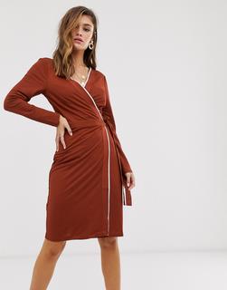MANGO - contrast trim wrap dress