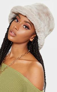 PrettyLittleThing - Beige Faux Fur Bucket Hat, Camel