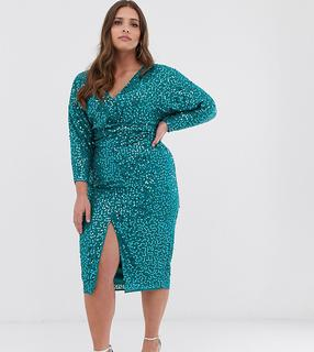 ASOS Curve - ASOS DESIGN Curve midi dress with batwing sleeve and wrap waist in scatter sequin