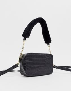 Chateau - Shoulder Bag in Black Embossed Crocodile