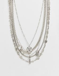 ASOS DESIGN - Layered chain pack with charm detail in silver tone