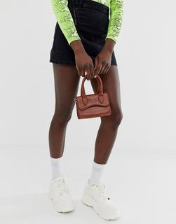 ASOS DESIGN - Kleine Handtasche mit abgerundetem Umschlag und abnehmbarem Riemen-Bronze